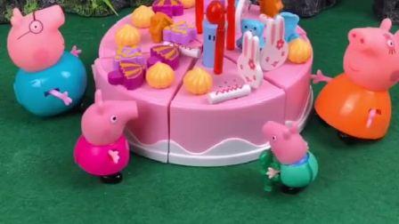 猪妈妈给乔治买了生日蛋糕,佩奇过过生日妈妈忘了,佩奇太伤心了