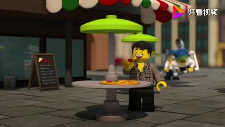 乐高城市:坏蛋用飞行器逃跑,他们冲进街道,男子就披萨瞬间没了