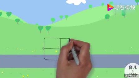 教你如何手绘简笔画消防车,小猪佩奇参观兔小姐的消防站。学会了吗?快画给宝宝看吧!