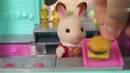 把小兔子做好的面包给小猪佩奇送去