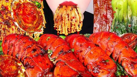 """韩国ASMR吃播:""""辣炒龙虾尾+鲍鱼+青菜+中国宽粉+金针菇"""",听这咀嚼音,吃货欧尼吃得真馋人"""