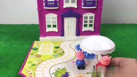 幼儿早教玩具,小猪佩奇制作好吃的可颂面包,和乔治去床上午睡