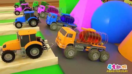儿童卡通 认识圆形 三角形 正方开 卡车运送颜料车 益智早教