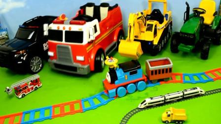 汽车玩具视频 拆箱认知各种汽车工程车