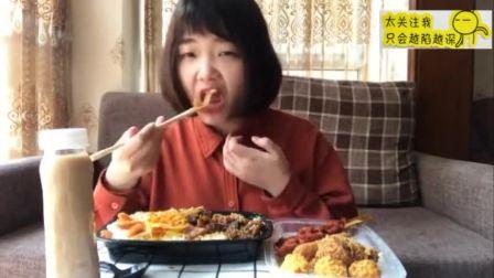 鲜椒牛肉鸡排双拼饭 翅根 骨肉相连 轰炸皮卡丘 虾棒 奶茶