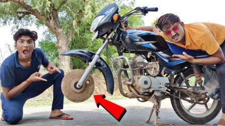 趣味实验:外国小哥用石磨盘做摩托车轮,网友:这操作我佩服!