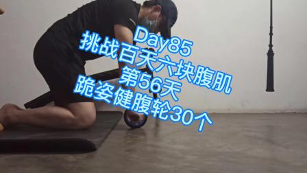 Day85, 调整百天六块腹肌第56天,跪姿健腹轮30个,腹肌反应强烈!
