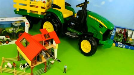 汽车玩具视频 卡车运来了各种动物