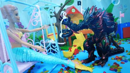 海底世界玩具故事02:怪兽抓住小美人鱼公主,要他们交出镇海宝物避水珠