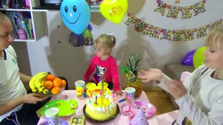 美国儿童时尚,孩子们准备了生日蛋糕,大家快乐极了