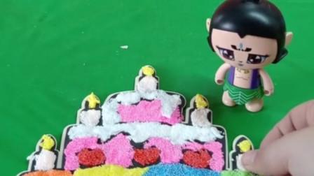 葫芦娃要给爷爷做蛋糕,他想送给爷爷做生日礼物,葫芦娃真棒!