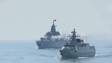 燃!实拍055大驱南昌舰海上射击:主炮火力全开猛烈对岸开火