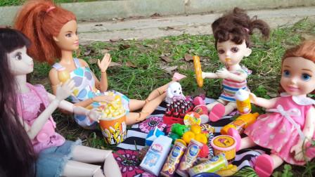 玩具故事:小芭比和好朋友小七到公园野餐,她们游玩的时候发现了一条小狗狗