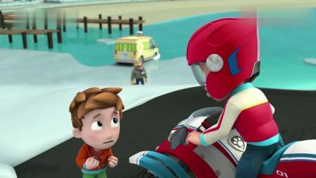 汪汪队立大功:莱德在冰上救援披萨车,不料冰忽然裂开,这下惨了