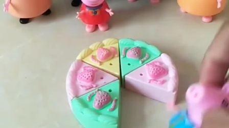 给小猪佩奇一家分蛋糕,佩奇乔治最喜欢吃蛋糕了,小朋友喜欢吃蛋糕吗?
