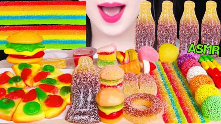 """韩国ASMR吃播:""""果冻橡皮糖+彩虹带+披萨和可乐+汉堡包橡皮糖"""",听这咀嚼音,吃货欧尼吃得真馋人"""