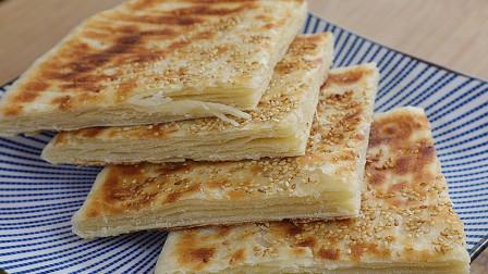 千层饼最简单的做法,层层薄如纸,外酥里软还筋道,凉了也不硬