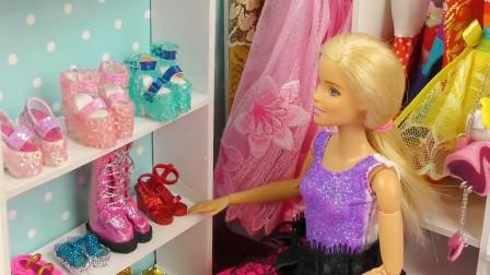 哇!鞋柜上的新鞋子都好漂亮呀,芭比娃娃会选择哪一双呢?