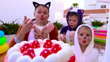 国外儿童时尚,妈妈做的蛋糕好漂亮,小朋友们争着吃