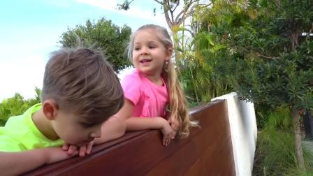 美国儿童时尚,小美女和哥哥,一块玩公主马车