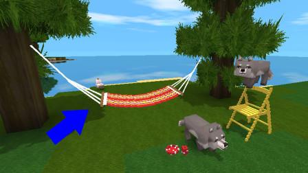 迷你世界:微缩模型教程———这个暑假真热啊,做个吊床去海边晒太阳