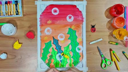 蜡笔水粉画教学《夜空中的萤火虫》