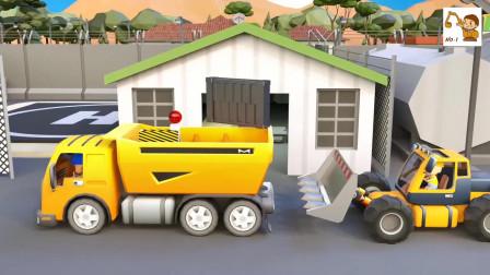 工程车动画片,推土机和翻斗车建造钓鱼台