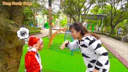 美国儿童时尚,四个小朋友公园玩滑板车影响交通,萌宝们真搞怪