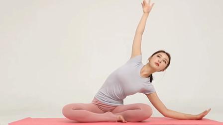 颈肩部酸胀和腰部不适,瑜伽坐姿经典舒展体式,还能有效瘦身燃脂