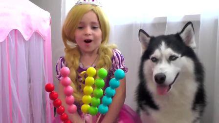 国外儿童时尚,小萝莉的彩色棒棒糖,被狗狗吃光了