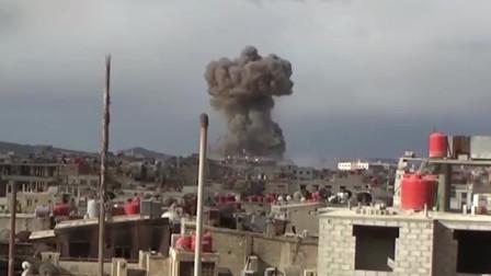实拍叙利亚战场画面,天空冒起蘑菇云