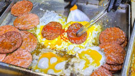"""小伙街头卖""""简易""""汉堡,鸡蛋卷上肉就收尾,一天300个不够卖!"""