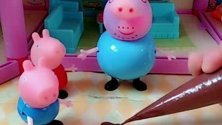 猪爸爸让佩奇乔治做巧克力棒棒糖,佩奇乔治都做了自己的画像棒棒糖,谁做的好呢?