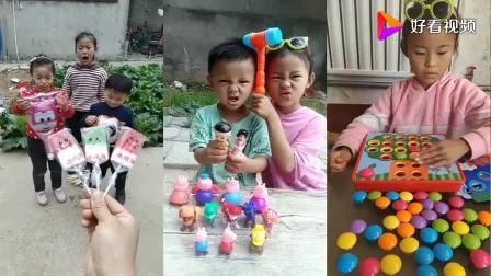 儿童姐妹吃播:姐妹吃彩色手指糖,玩小猪佩奇玩具!