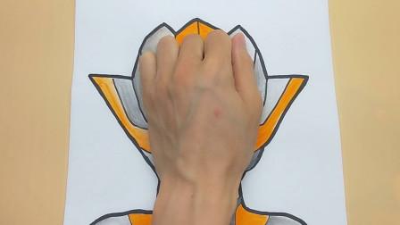 用手掌放在一张纸手绘赛罗奥特曼女朋友,简单画法又优雅的手势图