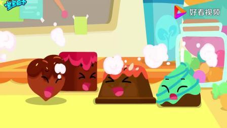 宝宝巴士:巧克力玩游戏,一个一个叠高高,变成一个小巨人(1)