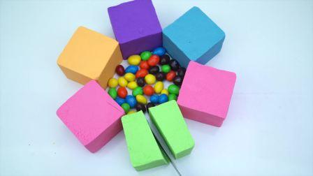 国外儿童时尚,好玩的太空沙,制作彩色花瓣糖果蛋糕
