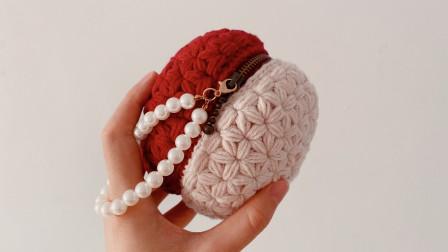 毛线球球包!好玩又可爱的圆形手拎包,可装小物,当作补妆包