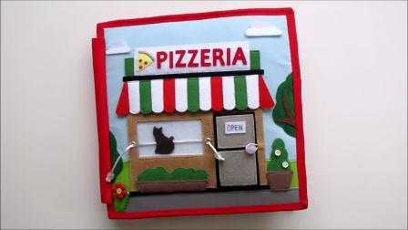 国外儿童时尚,手工制作,精美书本里的比萨店