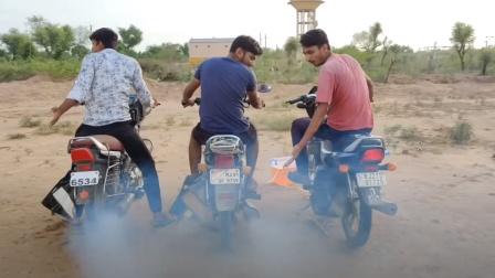 外国小哥脑洞大开,三辆摩托车共用一个油箱,网友:这操作真牛!