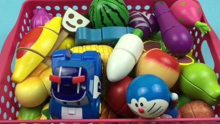 变形警车珀利和哆啦A梦玩切水果