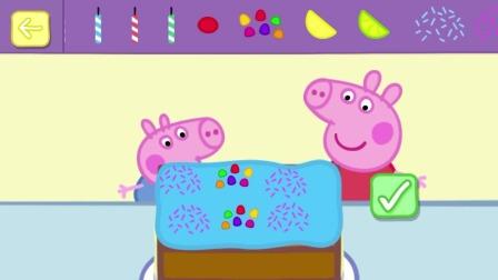 佩奇和乔治在装扮蛋糕,好漂亮呀!小猪佩奇游戏
