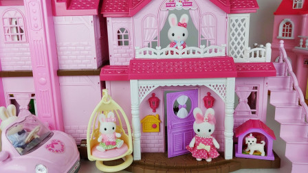 小兔子双层别墅玩具:兔妈妈为家人和客人准备美味食物