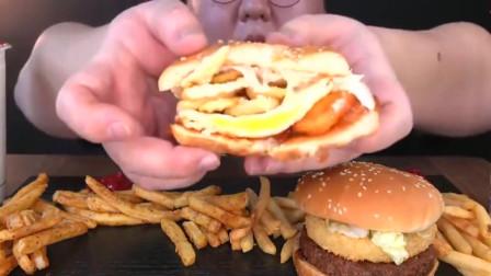 大胃王小哥哥吃双层汉堡配薯条,吃得爽歪歪!