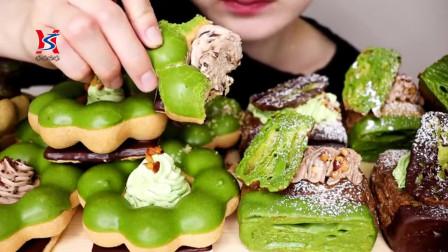韩国美女吃播声控抹茶甜甜圈,巧克力面包咯吱脆开吃,味道太爱了