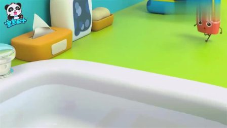 宝宝巴士:可乐跳进水里玩,溅了薯条一身水,可真捣蛋