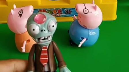 猪爸爸和猪妈妈在吵架,两人都说彼此的缺点,僵尸想劝架又不敢去