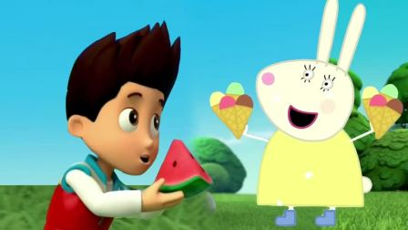 汪汪队立大功 莱德队长送兔小姐西瓜,兔小姐送莱德队长冰激凌 小猪佩奇简笔画