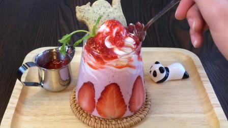 【草莓奶昔】可爱的男孩子,女孩子都要喝可爱的草莓奶昔#美食推荐官