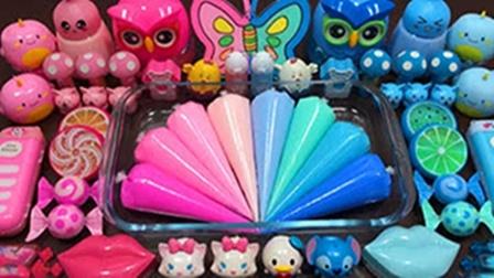 粉色蓝色双色系史莱姆,裱花袋彩泥+猫头鹰彩泥+蝴蝶彩泥,超棒